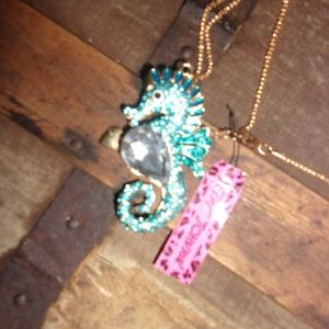 Betsey Johnson Jewelry - Betsey Johnson Aqua Seahorse necklace NWT